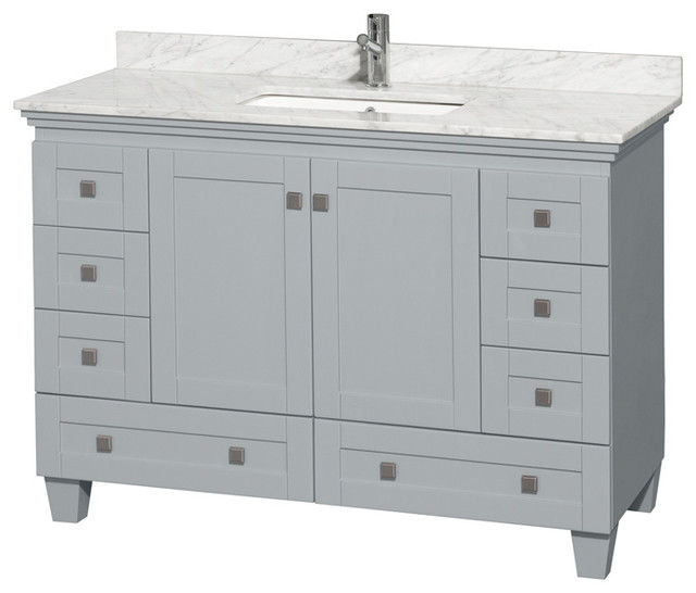 Acclaim 48 Single Vanity, Oyster Gray, White Carrera Marble Top, Square Sink.