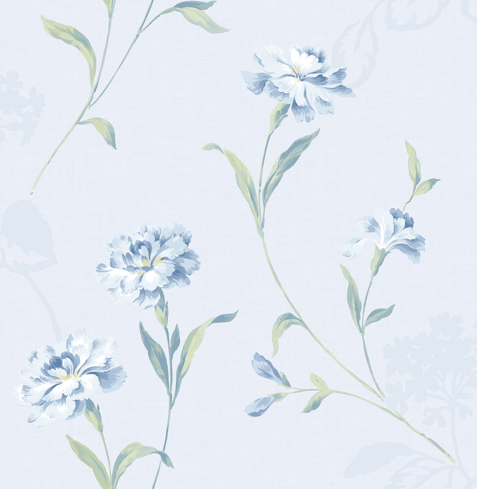 Caserta Blue Floral Wallpaper Contemporary Wallpaper By
