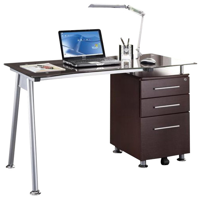Techni Mobili Tempered Glass Top Computer Desk In Chocolate  Desks And Hutches