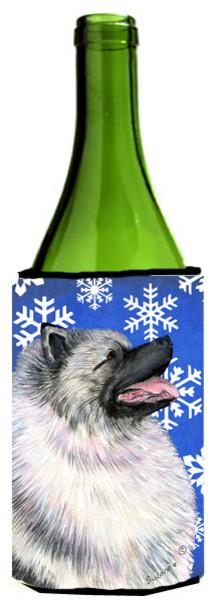 Keeshond Winter Snowflakes Holiday Wine Bottle Koozie Hugger.