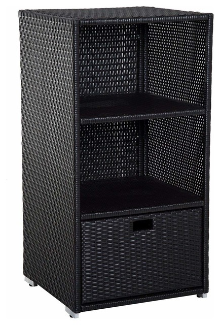 Outsunny 47 Quot Poolside Rattan Wicker Towel Valet Cabinet