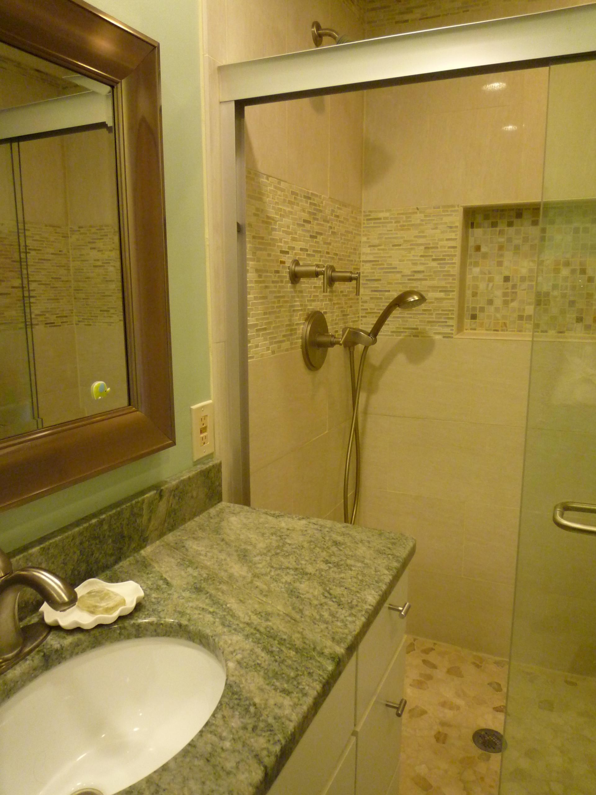 Hall bath costa esmerlda green granite- McLean