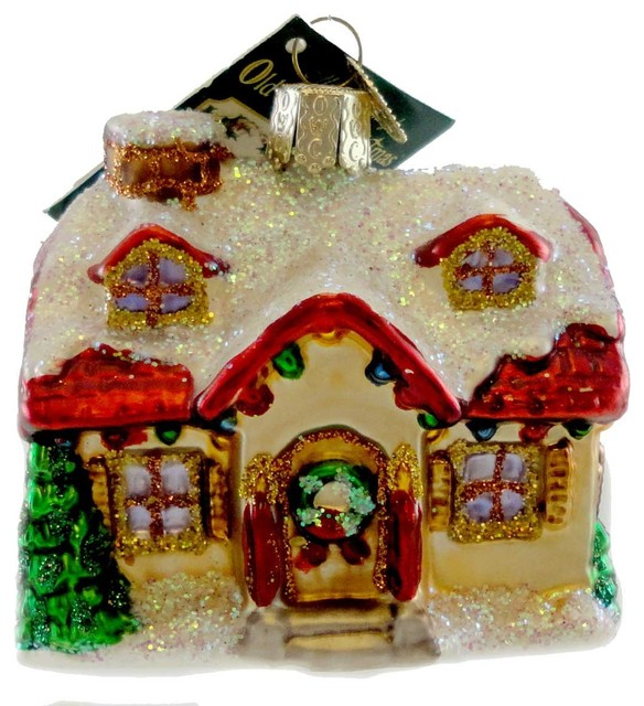 Old World Christmas Holiday Home Blown Glass Ornament House Realtor Sale  20032 - Old World Christmas Holiday Home Blown Glass Ornament House Realtor