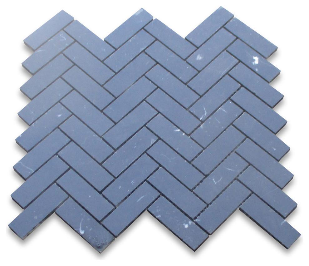 Nero Marquina Black Marble Square Mosaic Tile 1 x 1 Honed