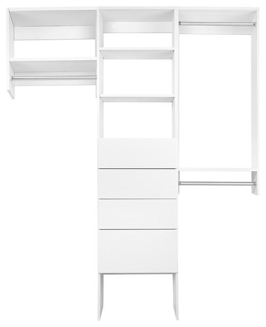 5 1/2&x27; Bi-Level Hanging Modular Closet Organizer With Drawers And Shelves.