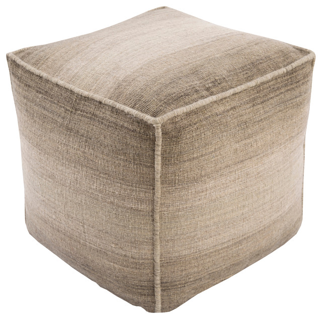 Surya Chaz Wool Cube Pouf Ottoman Olive Contemporary