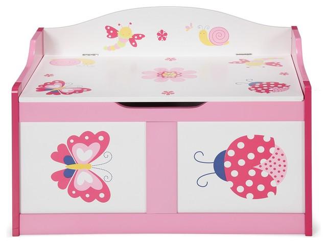 butterfly coffre jouets pour enfant rose et blanc motifs l68cm contemporain banc de. Black Bedroom Furniture Sets. Home Design Ideas