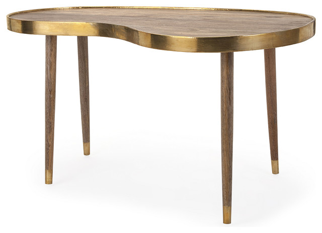 delightful dane kidney shape cocktail table - eclectic - coffee
