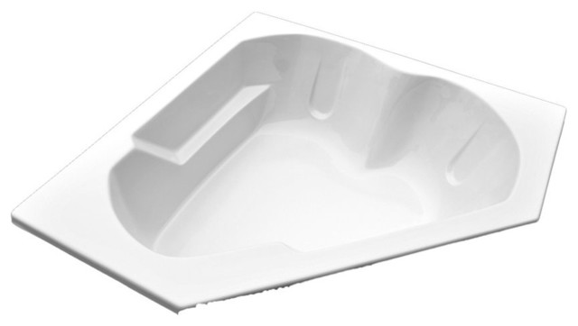 American Acrylic And Injection Armrest Corner Whirlpool Tub, Biscuit.