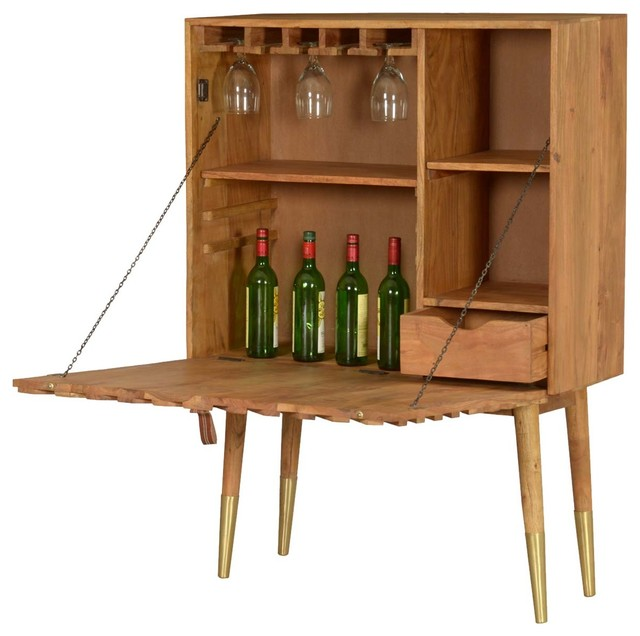 sierra living concepts miami chic handcrafted acacia wood wine bar cabinet w patterned door