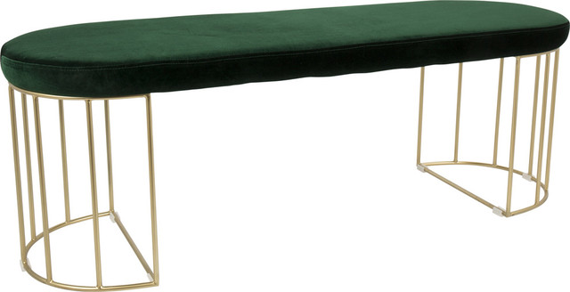 Lumisource Canary Dining Entryway Bench Gold And Blue Velvet Contemporary Dining Benches By Gwg Outlet Houzz