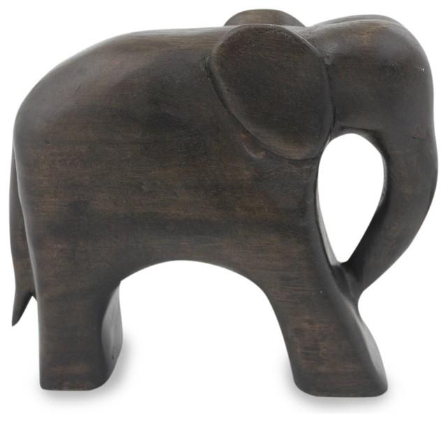 Brown Thai Elephant Wood Sculpture