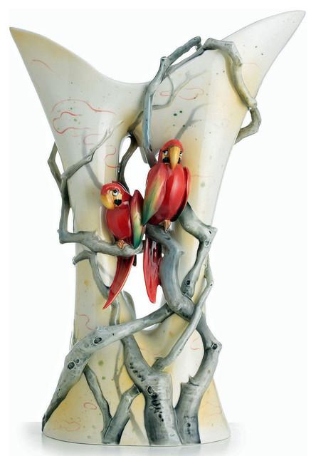 Franz Porcelain Collection Parrots Paradise Vase Transitional