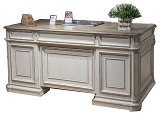 Liberty Magnolia Manor Jr Executive Desk Antique White