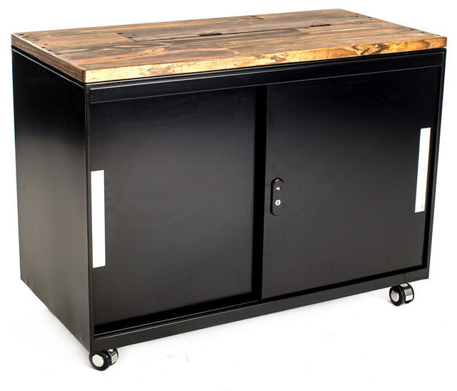 Metal Cabinets with Reclaimed Wood Top- Vintage Brown Stain - Industrial - Filing Cabinets - by ...