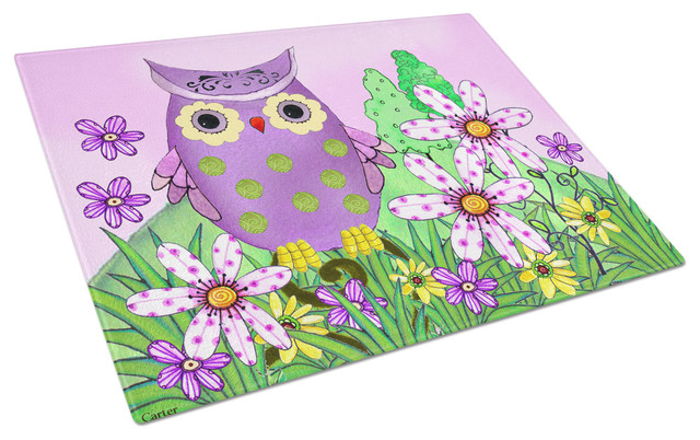 Who Is Your Friend Owl Glass Cutting Board, Large.