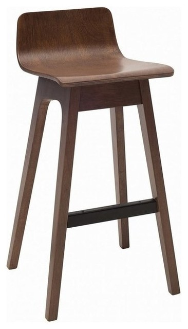 Ava Low Back Bar Stool Walnut Set Of 2 Midcentury