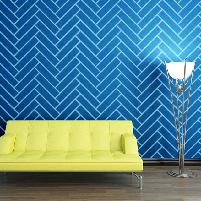 Herringbone Pattern Wall Stencil for Painting - Contemporary ...