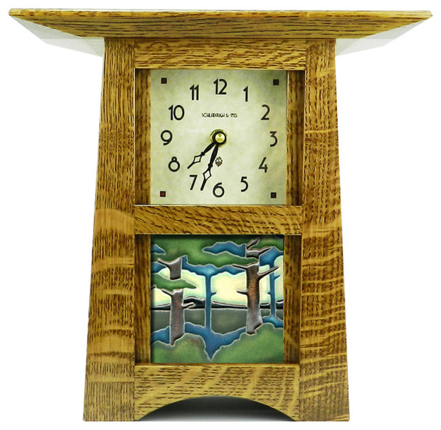 Schlabaugh Amp Sons Craftsman Style Tile Clock With 4 Quot X4