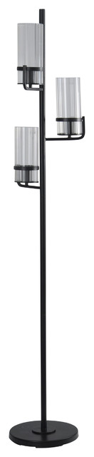 Three Arm, Floor Lamp, Satin Black Finish, Clear Ribbed Glass Shades.