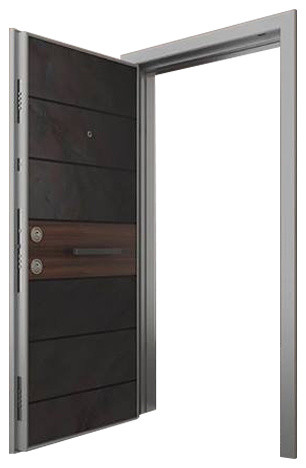 Modern Steel Security Door With Natural Stone Finish