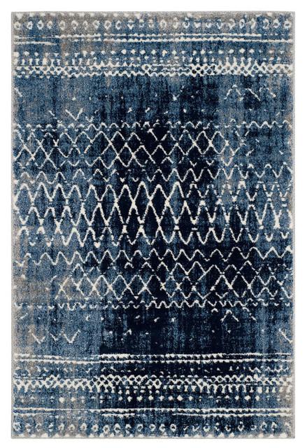 Safavieh Tunisia Woven Rug, Light Blue/cream, 4&x27;x6&x27;.