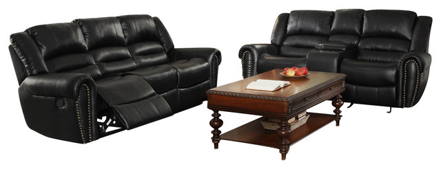 Homelegance Center Hill 2 Piece Living Room Set In Black Leather  Contemporary Living Room
