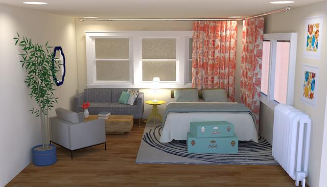 flirty, eclectic studio apartment interior design - eclectic