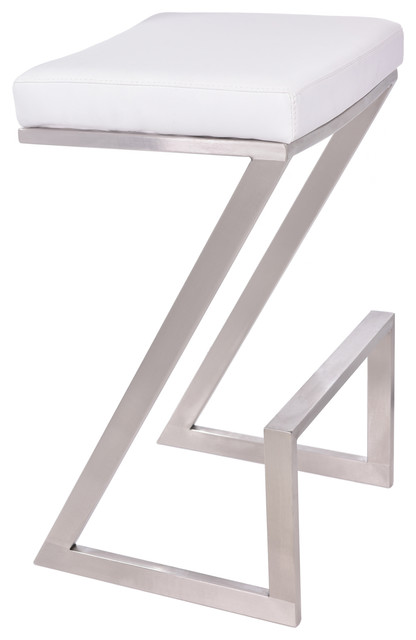 Ace Backless Stool, White, Counter Height.