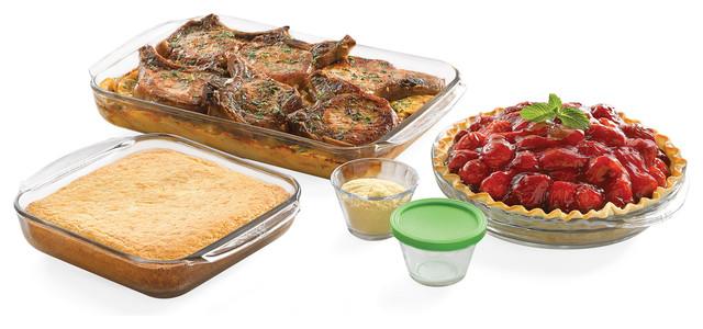 Baker&x27;s Basics 7-Piece Glass Bakeware Set With 4 Lids.