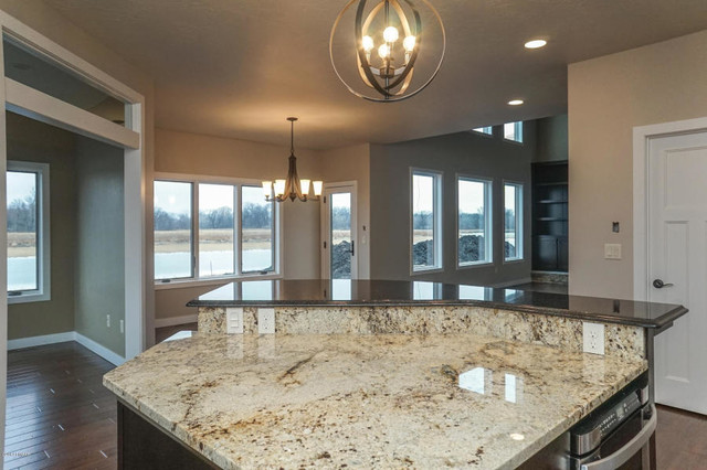 Sienna Beige Granite Lower Island Transitional Kitchen