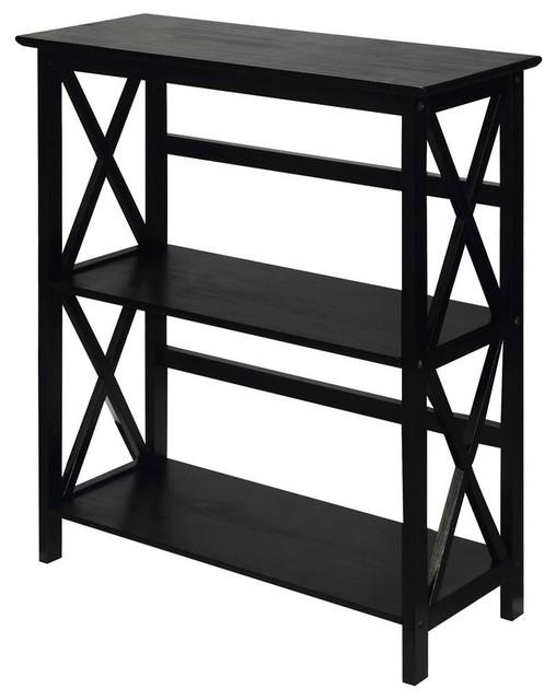 Furniture Montego 3 Tier Bookcase, Espresso.