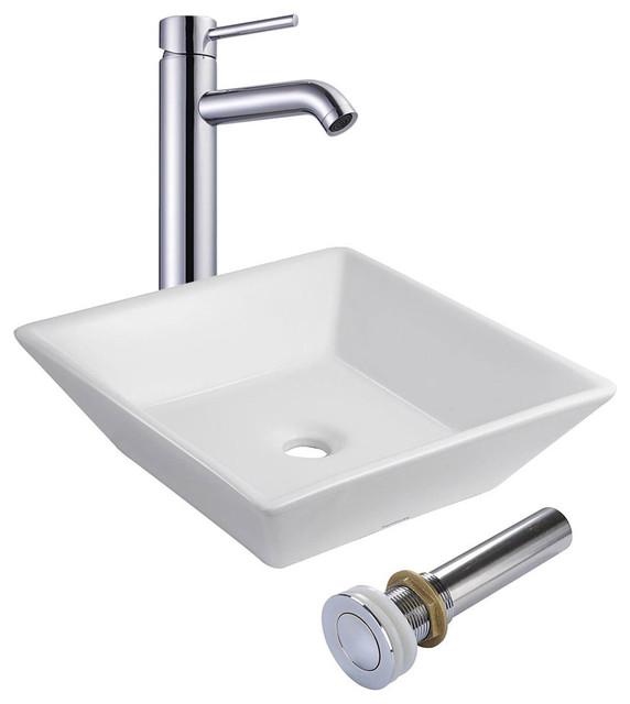 Aquaterior Square Porcelain Ceramic Vessel Sink With Drain & Faucet