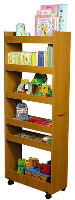 Mobile 6 Shelf Thin Man Pantry Cabinet in Oak Finish