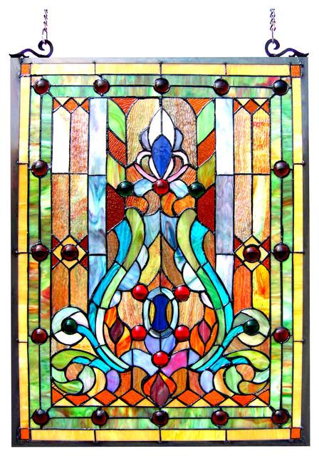 Chloe-Lighting Tiffany-Glass Victorian Window Panel