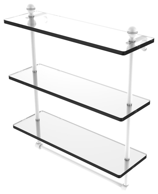 "Mambo 16"" Triple Tiered Glass Shelf With Integrated Towel Bar, Matte White."