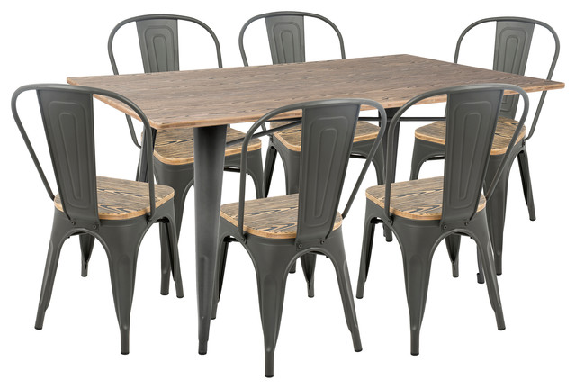 LumiSource Oregon 7-Piece Farmhouse Dining Set, Gray and Brown