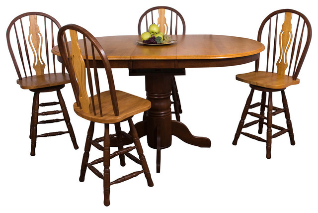 5 Piece Butterfly Leaf Pub Table Set With Keyhole Bar Stools   Traditional    Indoor Pub And Bistro Sets   By Sunset Trading
