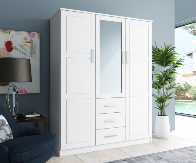 Cosmo 3 Door Wardrobe Armoire Mirror 3 Drawer By Palace Imports Transitional Armoires And Wardrobes By Palace Imports