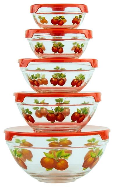 Genial 10 Piece Glass Bowls, Food Storage Bowls Set With Red Lids, Apple Design