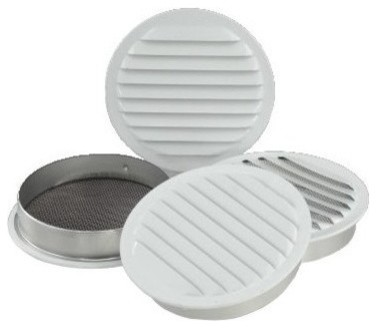 "4"" White Aluminum Round Soffit Vents, Set Of 4."