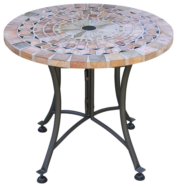 sanstone mosaic accent table with metal base southwestern table tops and bases by outdoor. Black Bedroom Furniture Sets. Home Design Ideas