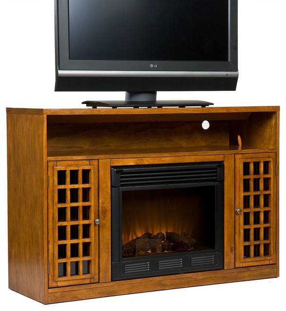 Narita Media Electric Fireplace, Glazed Pine.