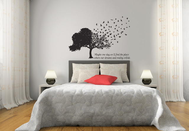 Birds Fly Away From Tree Matte Removable Wall Vinyl - Traditional