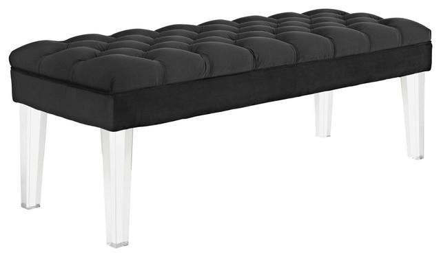Modern Contemporary Urban Design Bedroom Living Room Bench, Black, Fabric Velvet.