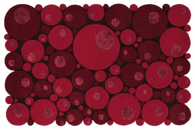 Bubbles Red Rug Contemporary Area Rugs