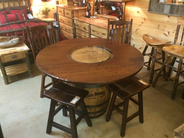Jack Daniels Whiskey Barrel Pub Table Rustic Dining