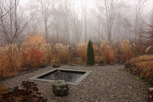 gravel area with reflecting pool