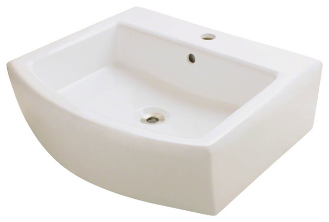 Polaris P003v-B Rectangular Porcelain Vessel Bathroom Sink In Bisque With Overfl.