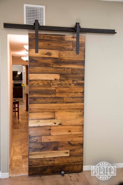 Sliding Barn Door 3 Tobacco Barn Wood With Flat Lacquer Finish Contemporary Interior
